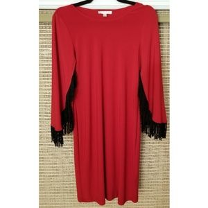 Spense Fringe Sleeve Red Dress